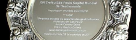 Diários Gastronômicos é premiado no XVI Troféu São Paulo Capital Mundial da Gastronomia